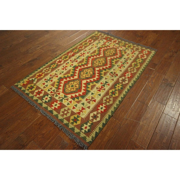 P206 Hand-knotted Wool Flat Weave South Western Navajo Design Rug (4' x 6')