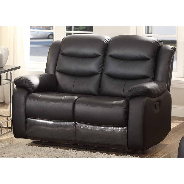 Bennett Black Leather Reclining Loveseat