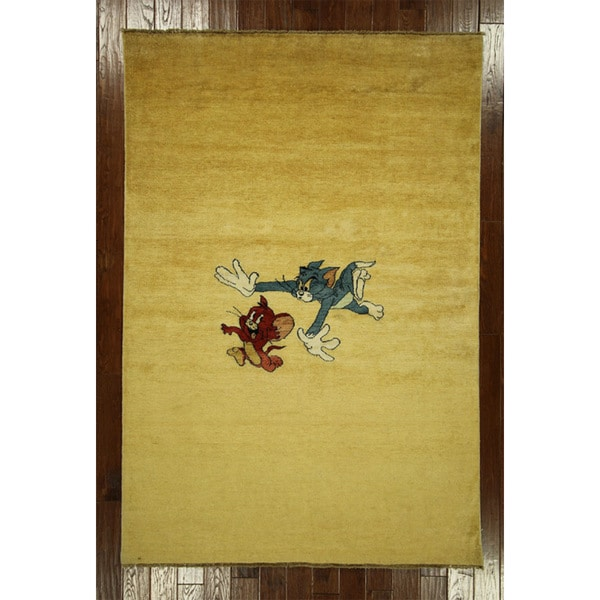 S651 Tom and Jerry Super Gabbeh Wool Hand-knotted Oriental Area Rug (5'7 x 8'2)