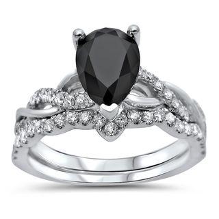 Noori Certified 14k Gold 1 3/5ct TDW Pear Shape Black Diamond Engagement Ring Bridal Set