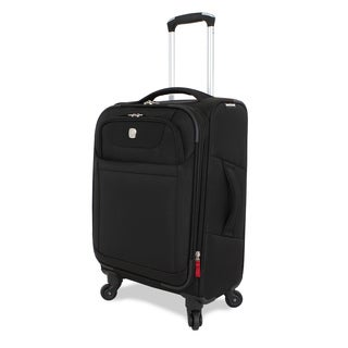SwissGear Deluxe 20-inch Expandable Carry-on Spinner Upright Suitcase Black