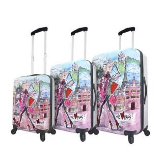 Mia Toro Italy Izak-Paris 3-piece Expandable Hardside Spinner Luggage Set