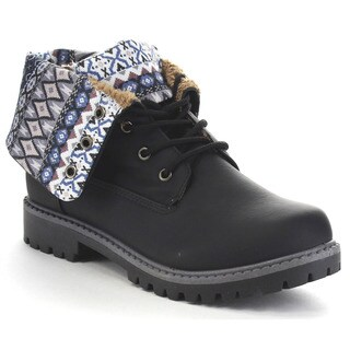Anna Dallas-28 Women's Fold Over Tribal Print Ankle Booties
