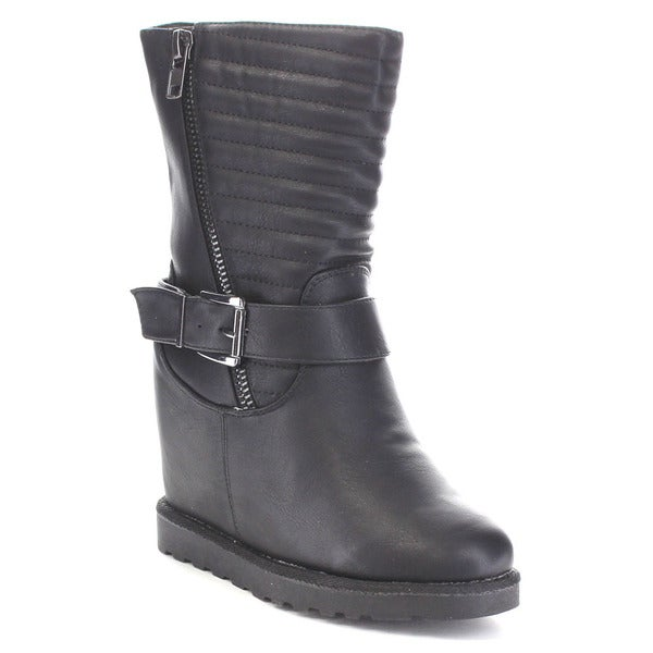Nature Breeze Brooks-04 Women's Faux Leather Hidden Wedge Mid-calf Boots