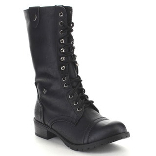 Soda Oral Women's Fold Over Lace Up Combat Boots