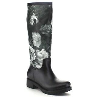 Bella Marie Rainey-10 Women's Floral Print Waterproof Rain Boots