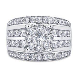 Divina 10k White Gold 3ct TDW Diamond Ring (I-J, I2-I3)