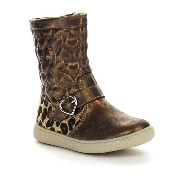 Beston Ga92 Girls' Side Zip Heart Shape Quilted Mid Calf Boots