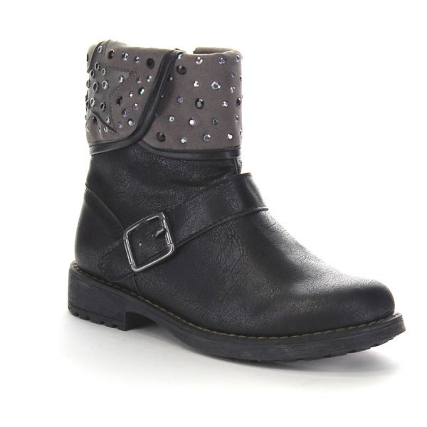 Beston Ga94 Flat Ankle Strap Wrapped Cuff Rhinestone Boots