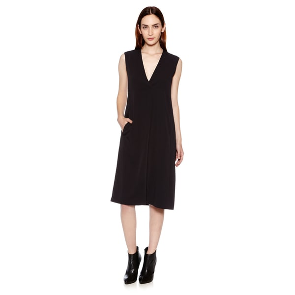 Vince Women's Pleated Front V-Neck Dress