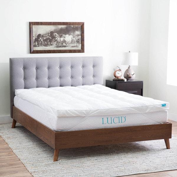 LUCID 3 Inch High Plush Down Alternative Fiber Bed Topper - Allergen Free
