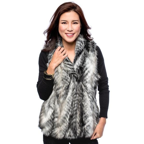 Women's Animal Fur Hook and Eye Vest