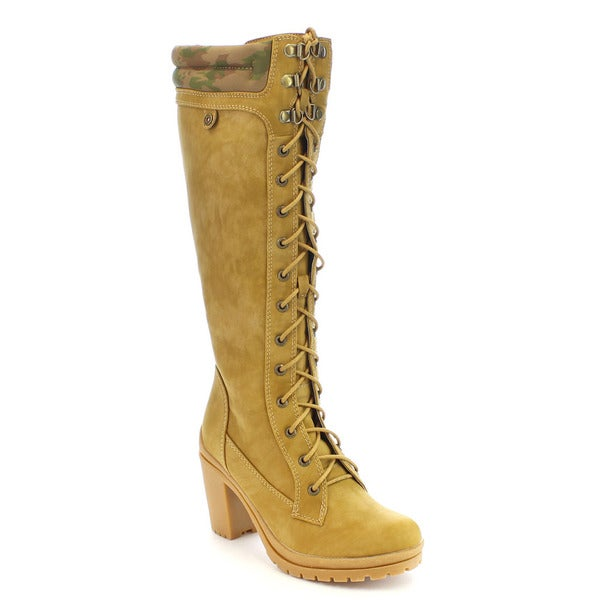 Shake Collection Hazel-01 Women's Lace Up Knee High Combat Boot
