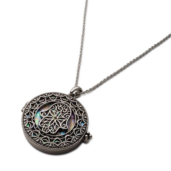 Large Hamsa Hand Locket Necklace