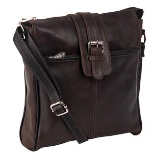 Piel Leather Slim 10-inch Vertical Vintage Messenger Bag