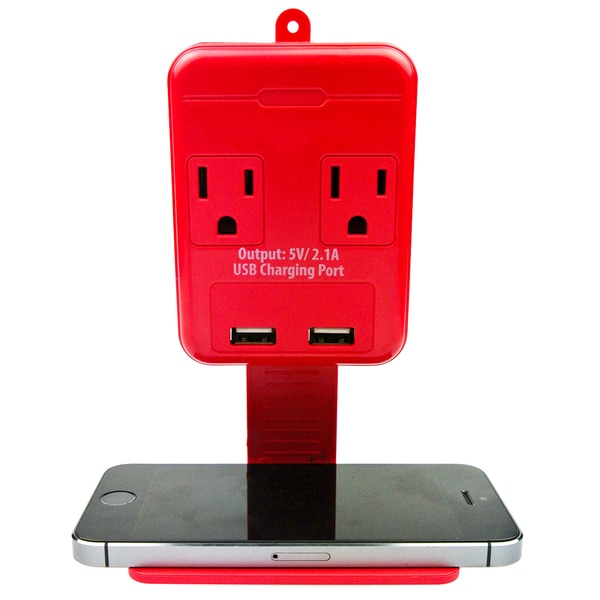 Rebelite Dual Power Outlet with 2 USB Ports and Phone Holder Shelf
