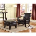 Wonda Brown Bonded Leather Accent Arm Chair with Ottoman