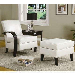 Wonda White Bonded Leather Accent Arm Chair with Ottoman