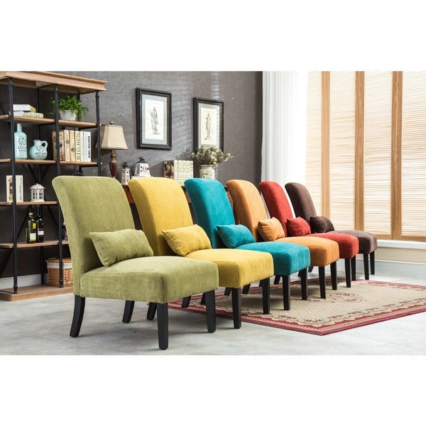 Pisano chenille fabric armless contemporary accent chair for Matching living room chairs