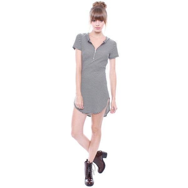 Beston Juniors' Striped Hoodie T-shirt Dress