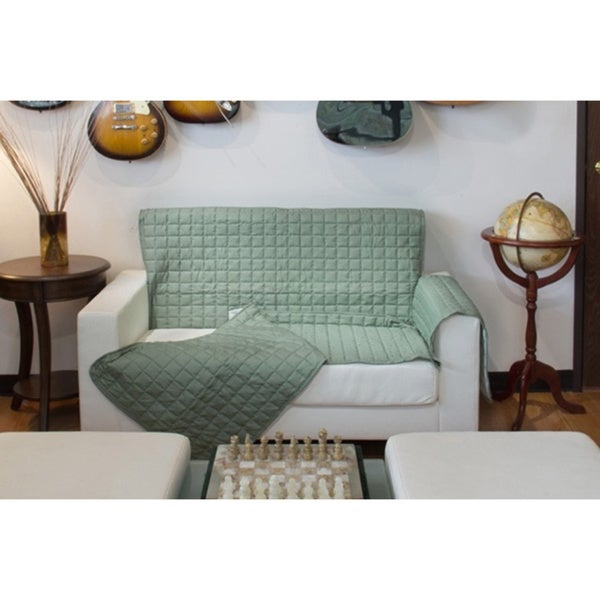 Two-Piece Button Design Love Seat Cover