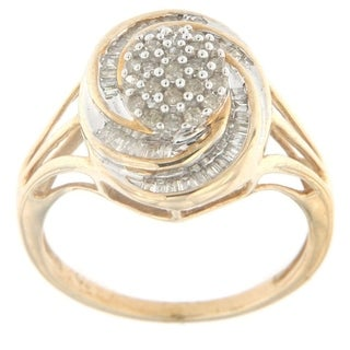 10k Yellow Gold 1/2ct TDW Round and Baguette Diamond Cocktail Fashion Ring (I-J,I2-I3)
