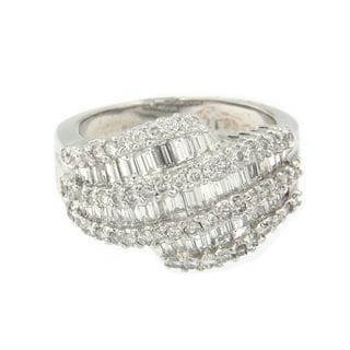 14k White Gold 1 3/4ct TDW Round and Baguette Diamond Cut Ring(SI1-SI2,H-I)