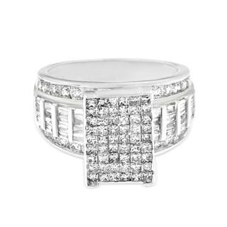 14k White Gold 2ct TDW Round, Baguette and Princess-cut Pave Diamond Ring (H-I, SI2-I1)