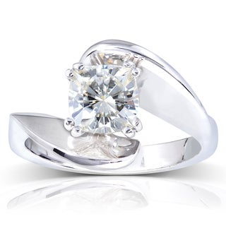 Annello 14k White Gold Forever One 1 1/10ct Cushion Moissanite Wavy Solitaire Engagement Ring
