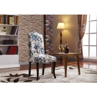 Tropical Floral Pattern Parson Dining Chairs with nailhead trim (Set of 2)