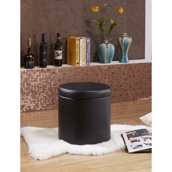 Castillian Collection Contemporary Round Storage Ottoman - Premium Selected Faux Leather