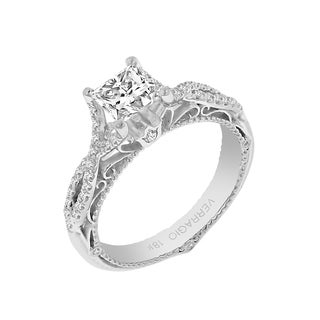 Verragio 18k White Gold Cubic Zirconia and 1/4ct TDW Diamond Designer Engagement Ring (F-G, VS1-VS2)