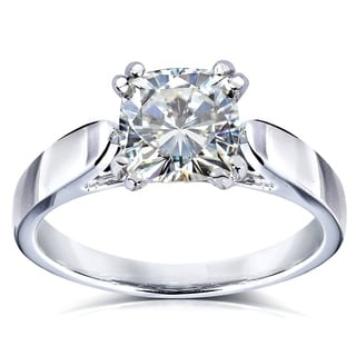 Annello 14k White Gold Forever One 1 1/10ct Cushion Moissanite Solitaire Cathedral Ring