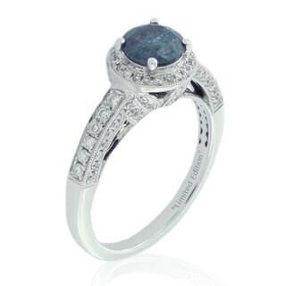 Suzy Levian 14K White Gold 1.5 tcw Blue Diamond Ring