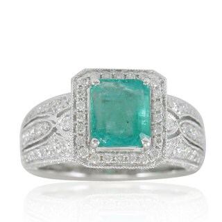 Suzy Levian 14K White Colombian Emerald 1.07ct TDW Diamond Ring (SI1-SI2, H-I)