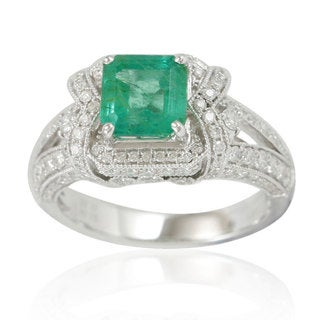 Suzy Levian 14K White Colombian Emerald .91ct TDW Diamond Ring (SI1-SI2, H-I)