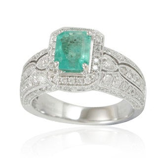 Suzy Levian 14K White Colombian Emerald 1.09ct TDW Diamond Ring (SI1-SI2, H-I)