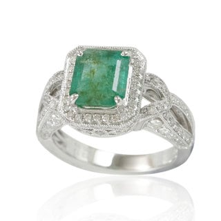 Suzy Levian 14K White Colombian Emerald 1.00ct TDW Diamond Ring (SI1-SI2, H-I)