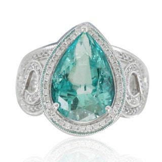 Suzy Levian 14K White Colombian Emerald .89ct TDW Diamond Ring (SI1-SI2, H-I)