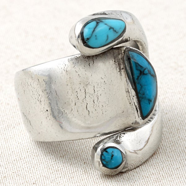 Handcrafted Silver Turquoise Attitude Ring (Mexico) (As Is Item)
