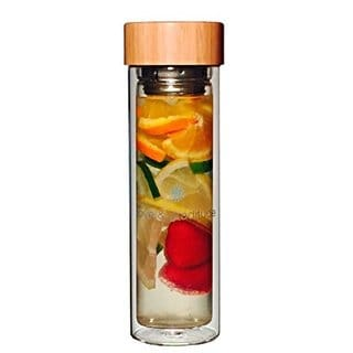 Glass 15.2-ounce Water Bottle with Tea/ Fruit Infuser and Neoprene Sleeve Double Walled Insulated Crystal Bamboo Lid