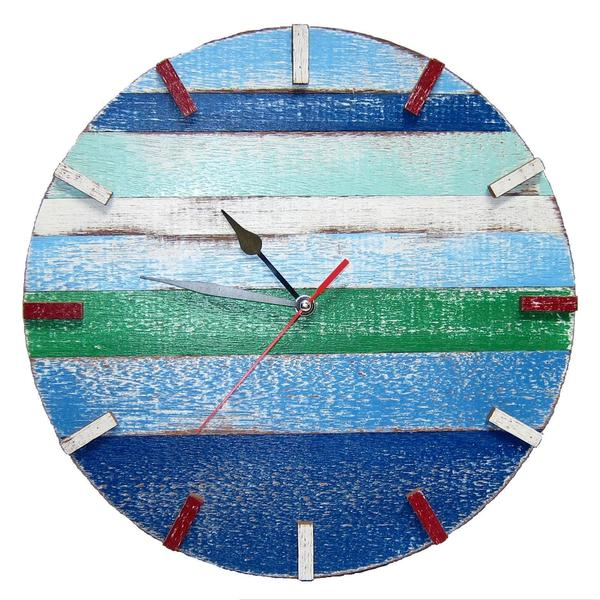 Time in the Blues Recycled Wood Wall Clock (Thailand)
