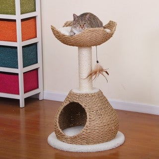 PetPals Walk-up Paper Rope Condo and Perch with Sisal Post