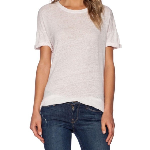 Frame Denim Le Boyfriend Women's White Linen Tee