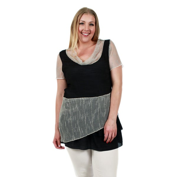 Firmiana Women's Plus Size Short Sleeve Black/ Beige Cowl Neck Tunic