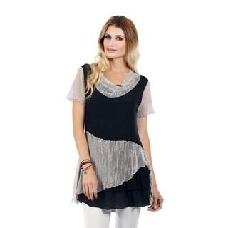 Firmiana Women's Short Sleeve Black/ Beige Cowl Neck Tunic
