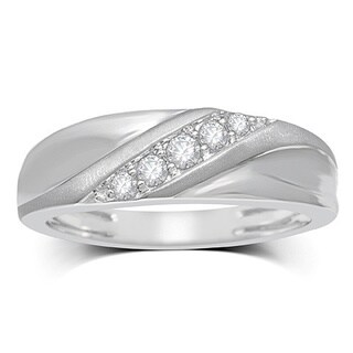 Unending Love 10k White Gold Men's 1/4ct TDW 5-stone Diamond Ring (H-J, I2-I3)