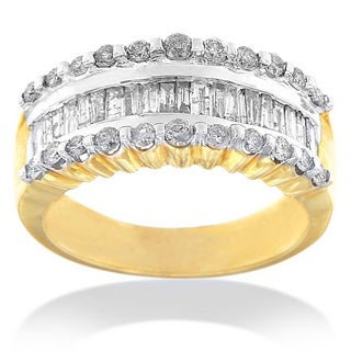 14k Yellow Gold 1 CTTW Round and Baguette-cut Diamond Ring (J-K, I2-I3)