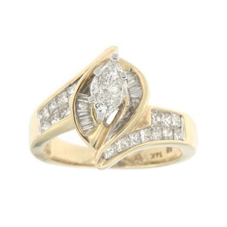 14k Yellow Gold 1 1/2ct TDW Princess and Baguette-cut Diamond Marquise-shaped Ring (H-I, SI1-SI2)
