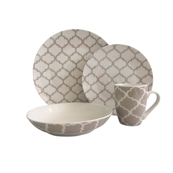 Melange 16 Piece Grey Harmony Coupe Porcelain Place Setting Serving for 4 Dinnerware, White